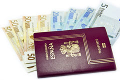 European passport and money Royalty Free Stock Photography