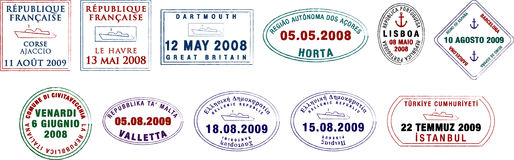 European Passport Stamps Royalty Free Stock Photography