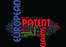European Patent Text Background Word Cloud Concept Royalty Free Stock Images