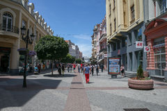 European pedestrian street. Plovdiv, Bulgaria - July 08 2016 European pedestrian street Royalty Free Stock Photo