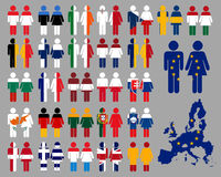 European people and flags stock images