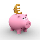 European piggy bank. A golden Euro in a pink piggy bank (3D rendering) - A clipping path is embedded to isolate the subject (no shadow royalty free illustration