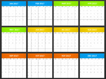 European Planner blank for 2017. Scheduler, agenda or diary template. Week starts on monday Stock Images