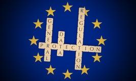 European Politics: Letter Tiles General Data Protection Regulation On EU Flag, 3d illustration vector illustration