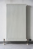 European Radiator White Contrast Wall Interior Geometric Perspective Stock Photo