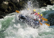 European rafting championship R6. On the rapids of river Vrbas near Banja Luka, Republika Srpska, Bosnia and Herzegovina Stock Image
