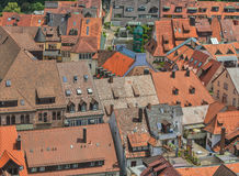 European red roofs. European old sity under a red roofs royalty free stock photos