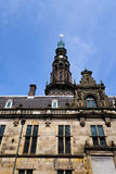 European renaissance facade. Central details of the renaissance style facade dating back to 1600 of city hall (stadhuis) of the old university town of Leiden in stock photography