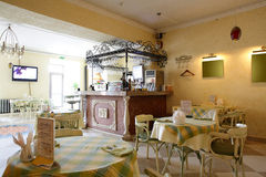 European restaurant in yellow colors Royalty Free Stock Photo
