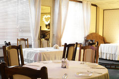 European restaurant in yellow colors Stock Images