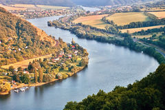European river Elbe in Cirkvice village when viewed from Mlynaruv kamen lookout in czech central mountains tourist area at sommer. Sunset royalty free stock photography