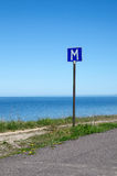 European road sign passing place by a road along coastline Royalty Free Stock Photo