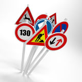 European road signs. 3d illustrated group of different European road signs on white background Stock Photo