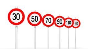 European road speed signs Stock Images