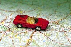 European road trip. Italian sportscar on a trip through the chateaux region of france Stock Photo