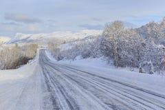 European route E10 in winter Stock Photos