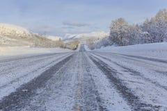 European route E10 in winter Royalty Free Stock Photos