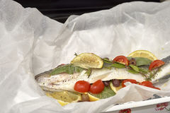 European sea bass ready for cooking Stock Images