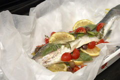 European sea bass ready for cooking Stock Image