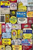 A European selection of canned fish with a retro packaging design