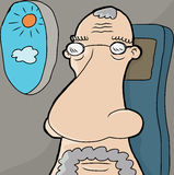 Senior Man on Plane Stock Photo