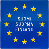 European sign with the name of Finland in three languages. Royalty Free Stock Photography