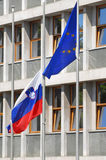 European and slovenian flag Royalty Free Stock Photography