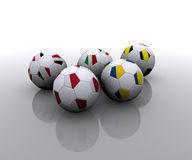 European soccer balls with flags. 3D Royalty Free Stock Photos