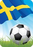 European soccer championship 2008 - Sweden. European football championship Euro 2008 theme with a classic ball on the grass and Swedish flag Stock Image