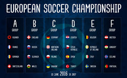 European soccer championship 2016 group stages vector design on blackboard. 2016 European soccer championship group stages vector design on blackboard Stock Images