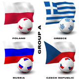 European Soccer - Group A. Participating teams of Group A of Europe's biggest soccer competition. Easy to edit and use Stock Photography