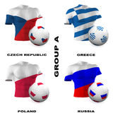 European Soccer - Group A. Participating teams of Group A of Europe's biggest soccer competition. Easy to edit and use Royalty Free Stock Images