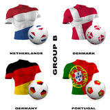 European Soccer - Group B. Participating teams of Group B of Europe's biggest soccer competition. Easy to edit and use Royalty Free Stock Image