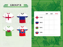 European soccer group b, flag design football icons and jerseys. European soccer championship group b, with jersey and ball symbols of football teams Royalty Free Stock Images