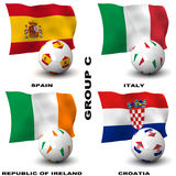 European Soccer - Group C. Participating teams of Group C of Europe's biggest soccer competition. Easy to edit and use Royalty Free Stock Images