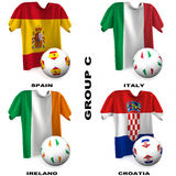 European Soccer - Group C. Participating teams of Group C of Europe's biggest soccer competition. Easy to edit and use Stock Photos