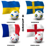 European Soccer - Group D. Participating teams of Group D of Europe's biggest soccer competition. Easy to edit and use Stock Photos