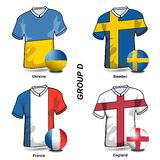 European Soccer - Group D. Participating teams of Group D of Europe's biggest soccer tournament Royalty Free Stock Image