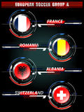 European Soccer Group A. On Tournament, Vector Illustration Royalty Free Stock Photo