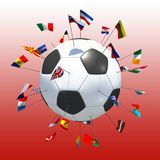 European soccer red background. 3d rendering Royalty Free Stock Images