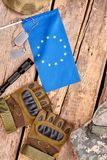 European soldier items flat lay. royalty free stock image