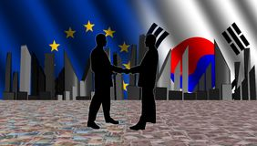 European South Korean meeting Stock Image
