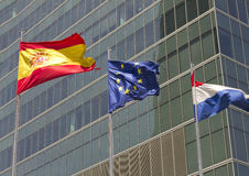European, spanish and french flag Royalty Free Stock Photo