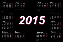 European spanish 2015 year calendar. With week starting from monday Royalty Free Stock Images