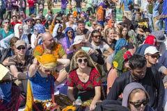 European spectators on a tribune at a Desert Festival in Jaisalmer, Rajasthan, India Royalty Free Stock Photo