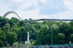 European square in Kyiv, view from Dnieper river.  royalty free stock photo