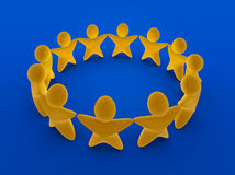 European Stars team. Stars shaped figures holding hands, standing in a circle. Concept of teamwork,  unity and European union Royalty Free Stock Photo