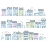 European town street with buildings and houses Royalty Free Stock Photos