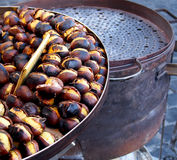 European street food – big and sweet baked chestnuts Stock Photo