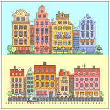 European street landscape. Vector flat illustrations Royalty Free Stock Photos